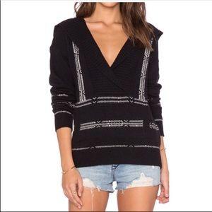 Paige Baja hoodie wool blend black white size S